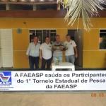 Premiação do 1º, 2º e 3º colocado do Torneio de Pesca da FAEASP.